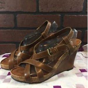 Aerosoles Women's Brown Leather Strappy Heels 6.5
